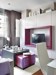 small studio apartment decorating idea with purple lovely tv