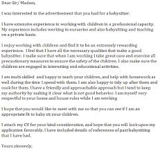 babysitter cover letter example learnist org