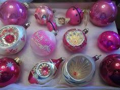 vintage glass christmas ornaments poland balloon indent mica