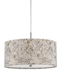 Fabric Drum Pendant Lights Alluring Drum Pendant Lighting Fabric Shade Simple Floral Pattern