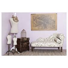 Small Chaise Beige U0026 White Leaf Fabric Small Chaise Longue Made To Order