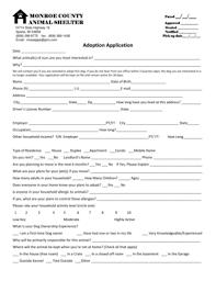 fillable online mcas adoption application monroe county