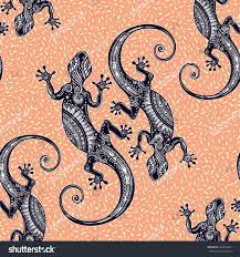 ornate gecko lizard seamless pattern geckos stock vector 466063493