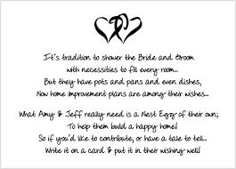 bridal shower gift poems bridal shower insert poem card bridal shower