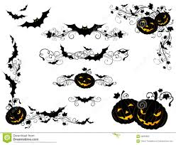halloween vintage page decorations and dividers stock