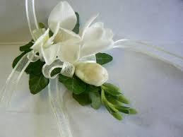 White Wrist Corsage White Freesia Wrist Corsage Plantation Florist Gloucester