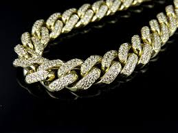 real diamond necklace images Men 39 s 10k yellow gold miami cuban link real diamond necklace chain jpg