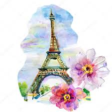 hand painted eiffel tower with flowers u2014 stock photo olies