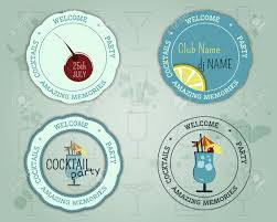 summer cocktail party badge and logo layout template with blue
