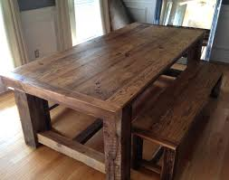 Build Your Own Reclaimed Wood Coffee Table by Traditional Barn Wood Dining Room Table With Bench Dining Room