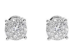 illusion earrings diamond 14k white gold mens diamond solitaire 7mm earrings