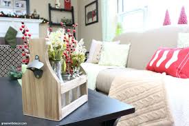 Decorating House For Christmas On A Budget Christmas Decorating Living Room Couch Pillows Wooden Drink Caddy