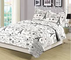 Eiffel Tower Accessories For Bedroom Beatrice Queen Quilt Set 3 Piece Paris Eiffel Tower Black And