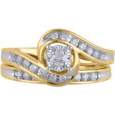 yellow gold wedding sets 1 3 carat diamond yellow gold bypass bridal ring set walmart