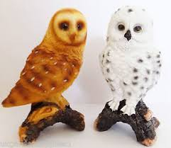 pack of 2 small owl ornaments figure snowy owl statue resin