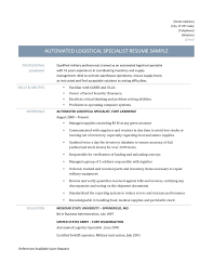 Inventory Specialist Resume Sample by Logistics Management Specialist Resume Free Resume Example And