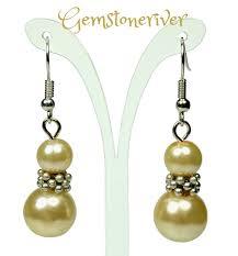 gala earrings lemon honey pearl silver drop dangle earrings bridesmaids prom