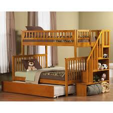 bedroom trundle bunk bed with stairs compact light hardwood