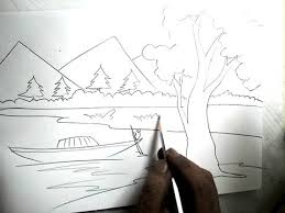 how to draw a scenery boat in river pencil drawing youtube
