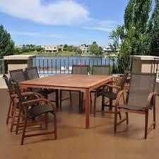 Eucalyptus Outdoor Table by Amazonia Livorno 9 Piece Square Eucalyptus Wood Patio Dining Set