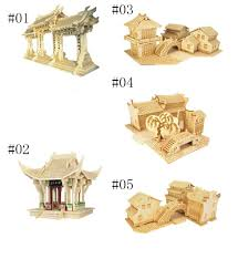 5 styles classic chinese house 3d puzzle dimensional wooden model