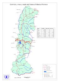 Mozambique Map Districts Rivers Roads And Towns Of Manica Province Mozambique