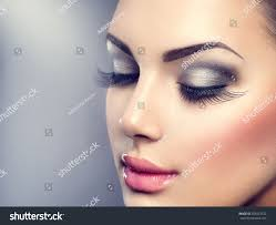 beautiful fashion luxury makeup long eyelashes stock photo