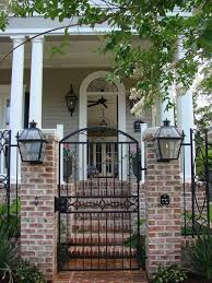 front entrance garden ideas entry traditional with brick wall iron