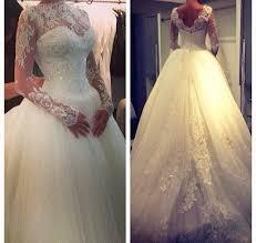 high neck long sleeve princess wedding dress ball gown lace cheap