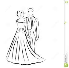 dessin mariage silhouette des jeunes mariés croquis de nouveaux mariés dessin