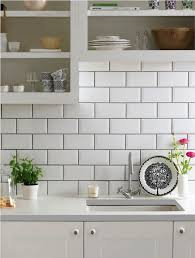 shabby chic kitchen ideas with white beveled tiles and open