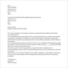 notice to vacate letter to tenant template tenant move out notice