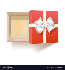 gift boxes with bow open empty gift box with bow view from above vector image