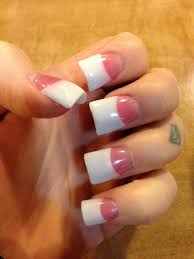 pink and white gel nails with small flare tips by chan yelp