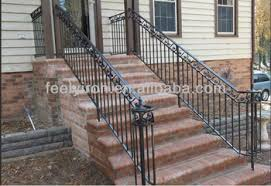 exterior wrought iron stair handrail fh 006 view iron handrail