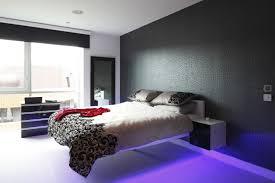 purple led lighting idea with stylish floating bed furniture set