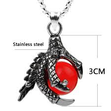 crystal ball pendant necklace images Chanfar classic dragon claw stainless steel necklace punk red jpg