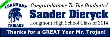 high school senior banners longmont trojans high school graduation banners longmont