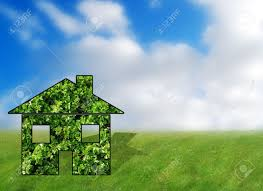 ideal eco friendly house in sunny dream like environment stock