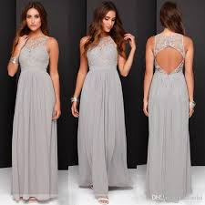 light gray bridesmaid dresses sale elegant light grey long lace chiffon bridesmaid dresses