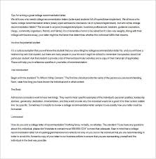 College Letter Of Recommendation From 8 College Recommendation Letter Free Sle Exle Format