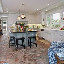 Kitchen Floor Tiles Ideas by Best 25 Brick Floor Kitchen Ideas On Pinterest Wood Cabinets