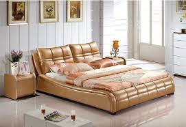 Cheap Leather Bed Frame Genuine Leather Bed Luxury Style Golden Simple Fasion