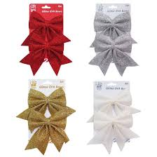 White Bows For Tree Glitter Sequins Bows Tree Decoration Ornament Silver