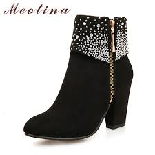 womens high heel boots size 9 meotina winter boots fashion high heels boots