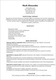 Refrigeration Technician Resume Professional Industrial Maintenance Mechanic Resume Templates To