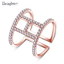 shaped rings images Beagloer fashion open h letters shaped rings tiny paved 0 01ct jpg