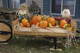 pallet yard decoration pumpkins in the fall and flower pots in the