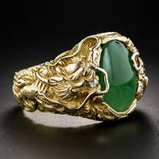 dragon jewelry rings images Chinese jade gent 39 s ring with dragons japanese antiques jpg