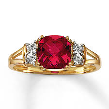 rings with ruby images Kay lab created ruby ring diamond accents 10k yellow gold jpg